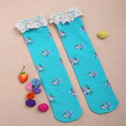 Wholesale Toddler Floral Boots - Blue Floral & Lace Boot Socks ,Toddler To Young Girls lace trim Boot Socks ,Girls Ruffle Sock On Sale ,girls leg warmer