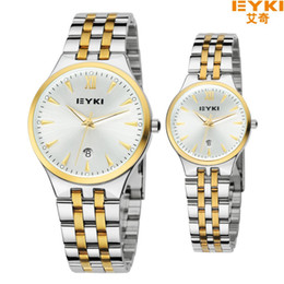 Wholesale Eyki Pair - Boutique Couple Lover's Watch Pair EYKI Brand Woman Man's Fashion Full Steel watches Calendar Quartz Waterproof Wristwatches