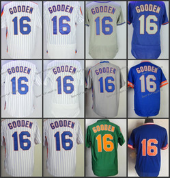 Wholesale Flashing Strip - 2018 Flexbase New York #16 Dwight Gooden Home Away Baseball Jersey White Strips Grey Blue Green Pullover Cool Base Stitched