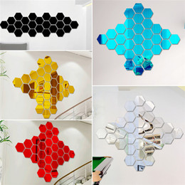Wholesale Small Stickers Wholesale - New Arrivals Wall Stickers Wallpaper Acrylic 3D Mirror Effect Home Room Decor Removable Modern Fashion Size 80*70*40mm JM34 Free Shipping