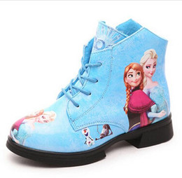 Wholesale Ties Up Ankle Boots - 2015 Winter Children Snow Boots Girls fashion Snow Queen Elsa Anna Ankle snow boots , Child Shoes JIA773