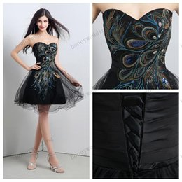 Wholesale Peacock Ball Dress Tulle - Cheap Embroidery Peacock Prom Dresses Ball Gown Sweetheart Mini Short Party Dress Christmas Dresses Real Image In Stock Evening Gowns
