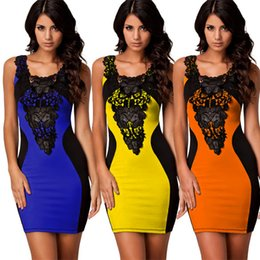 Wholesale Dress For Celebs - Dresses for Womens Clothes Fashion Dress 2016 Sexy Casual Dresses Plus Size Celeb Style Floral Lace Party Evening Bodycon Dresses 104