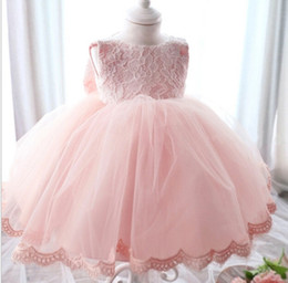 Wholesale American Lantern Lighting - High Quality Baby Girl Dress Baptism Dress for Girl Infant 1 Year Birthday Dress for Baby Girl Chirstening Dress for Infant DB-68