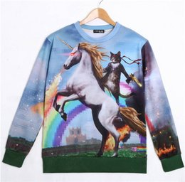 Wholesale Horse Pullover - Alisister 2015 fashion new cat hoodies women animal print space horse sweatshirt hoodies female men character pullover tops