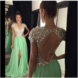 Wholesale Mint Chiffon Maternity Dress - Mint Green High Slit Long Prom Dresses A Line V Neck Cap Sleeve with Sequined Luxury Crystal Custom Made luxus abendkleider 2016