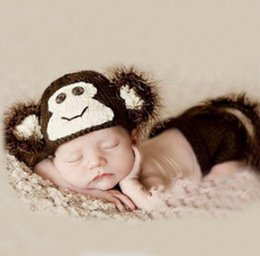 Wholesale Newborn Knitted Monkey Hats - Crochet Baby Hats Newborn Monkey Design Knit Wrap Photography Props Costume Outfit Newborn Infant Set Handmade Free Shipping