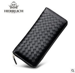 Wholesale Black Quilted Wallet - High quality Brand Woven wallet Weave Quilted Lady knitted wallets women leather Classic zipper Long ladies Purses clutch wallet