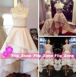 Wholesale Collar Neckline Wedding Dress - Sexy See Through 2016 High Low Princess Wedding Dresses with Sheer Neckline Short Sleeves Tiers Satin Lace 2015 Plus Size Hi-Lo Bridal Gowns