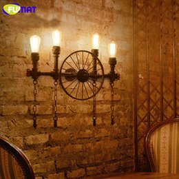 Wholesale Sconces Led - FUMAT Water Pipe Wall Lamps Vintage Aisle Lights Loft Iron Wall Lamp Vintage E27 LED Light Bulb Sconce Lights for Restaurant Bar