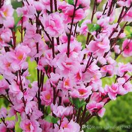 Wholesale Flower Shop Displays - Length Artificial Peach Branches Cherry Blossom Silk Flowers Home Wedding party shop Decoration Flower 100pcs lot