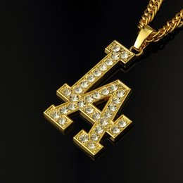 Wholesale 24k Gold Long Necklace Style - LA letter full crysal pendant long necklace european style 24k gold filled chains hiphop rock dance jewelry accessory gifts N146