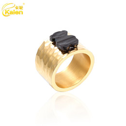 Wholesale United Wedding - Ring female new black bear wild Europe and the United States Department of atmospheric stainless steel radiation ring