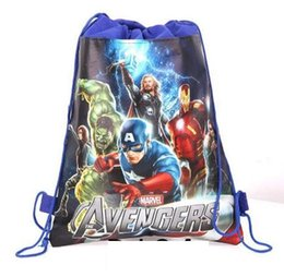 Wholesale Nice Party - 20pc lot new style Christmas Non-woven Avengers Backpacks Printed School bag shopping bag birthday Party Favors nice gift 3design J01