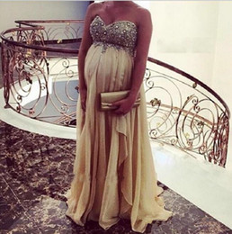 Wholesale Empire Waist Formal - Elegant Champagne Empire Waist Prom Dresses For Pregant Women 2018 Sweetheart Crystal Maternity Chiffon Boho Evening Party Formal Gown