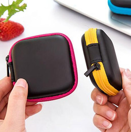 Wholesale Plastic Key Box - cute mini travel portable hard organizer case headphones storage box cable wire earbuds pouch bags card keys holder box