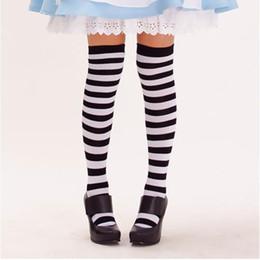 Wholesale Wholesale Girls White Tube Socks - Wholesale-wholesale black and white striped in tube socks cute girl knee socks
