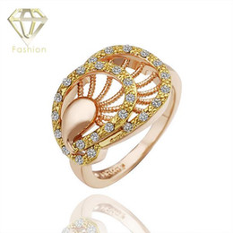 Wholesale Gold Plated Austrian Crystal Peacock - Geometric Design Engagement Rings Peacock Personality Jewelry Yellow Rose Gold Plated Ring Inlaid Austrian Crystals for Women