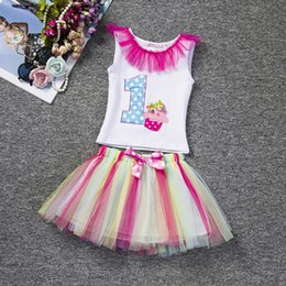 Wholesale Baby Suits Newborn Gift Set - Wholesale- 2017 Toddler Girl Clothes Sets For Newborn Baby Girls First Birthday Gift Infant Clothing Sets 2pcs White T-shirt + Skirt Suits