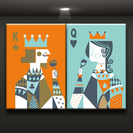 Wholesale Art Canvas Prints Wholesale - 2 Pieces Combination King and Queen Poker Canvas Printed Painting For Living Room Bedroom Wall decor Art