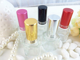 Wholesale 8ml Roll Perfume Bottles - Lily 50pcs lot 8ML Clear SquareGlass Perfume Bottles with Colorful cap Plastic roll-on Fragrance and Deodorant Refillable bottle