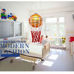 Wholesale Balcony Led Lights - new creative children bedroom lights balcony Basketball pendant light LED lamp drop lamp E27 bedroom dining lampshade for home