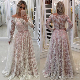 Wholesale Long Sleeve Evening Stylish - Stylish Lace Prom Dresses With Long Sleeves Sheer Bateau Neck Evening Gowns Vestidos De Fiesta Floor Length Formal Dress