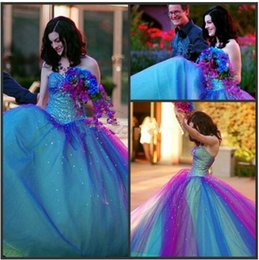 Wholesale Rainbow Dress Red - New Arrival Sweetheart Beaded Custom made masquerade ball gowns quinceanera Rainbow Purple Prom Dresses Gradual Bridal Gowns