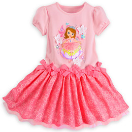 Wholesale Princess Dress Baby Girl Pink - New Summer Baby Girl Dress Kids Cartoon Pattern Tutu Dress Short Sleeve Lace Princess Clothing For 1~7Y Kids
