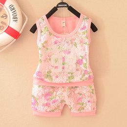 Wholesale yellow plaid suit - Summer girl clothing baby clothes suit girls shirt+short 2 pieces baby lace floral suit cotton clothing