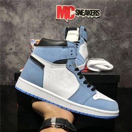 Parte superior azul dos meninos on-line-Top Quality Jumpman 1 1s Juventude Meninos Homens Mulheres Basquetebol Sapatos Bio Hack Travis Scotts Fearless Obsidian Unc Universidade Azul Fumo Fumo Cinza Mens Sports Trainer Sneaker