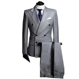 Blazers de couleur grise en Ligne-Conception Slim Slim Grey Costume Pure Color Robe Pure Blazer Double boutonnage Hôtes Spectacle Veste manteau Pant Hommes Blazers