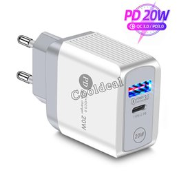 Adaptador de cabeza iphone online-Universal Quick Charge 3.0 PD USB Charger 20w Type C Fast Charging Power Adapter Travel Chargings Head US UK EU Plug For iPhone 12 11 Samsung S20 HuaWei