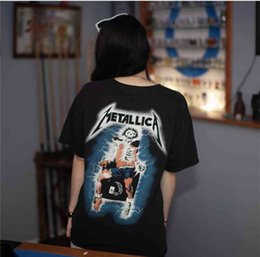 Metallica schwermetall online-Heavy Memorial Short Metal Electric Band Metallica Stuhl Baumwolle T-Shirt High Definition Druck Punk Hip Hop