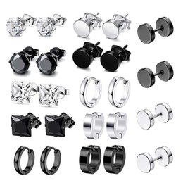 Mens ohrringe online-Paare / Set Edelstahl Punk Ohrringe Hip Hop Rock Ohrstecker Drop Danles Anhänger Unisex Frauen Männer Schmuck Geschenke Bolzen