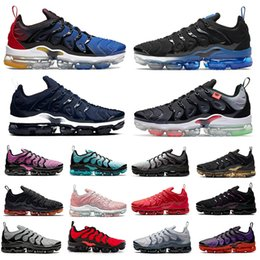 Triple briquet en Ligne-Vapormax Plus tn Chaussures de course pour hommes Noir royal dans le monde entier Sunset Atlanta Neon Triple Red Cherry Light bone hommes femmes formateurs baskets de sport 36-47