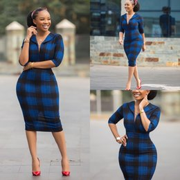 Abiti maturi online-Estate Plus Size Vintage Plaid Abiti Casual Dresses Daily Mature Sexy Sexy Office Elegante stile Mezza manica Donne Slim Matita Midi Abito