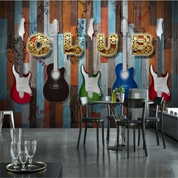 2021 chitarra elettrica bordo  Carta da parati retrò europea e americana Decorazione industriale Guitar Electric Board Bar KTV Mural Sfondo Carta da parati Wallpapers
