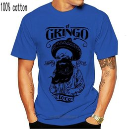 tee shirt messicani Sconti T-shirt El Gringo Loco - Skull Beard Old School Mexican Top S M L XL XXL Adulti Adults Casual Tee shirt