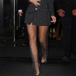 Details about  /Sexy Rhinestone Net Women Party High Stockings Crystal Fishnet Sock Tights