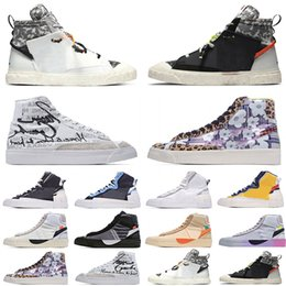 Chaquetas blancas de marca para hombre online-[Pulsera + Calcetines + Caja Original]Sacai X Nike Blazer Mid Deconstructed Double Hook Catwalk Co-branded Trailblazer High-Top Casual Shoes Off White x Blazer Mid OW Sneakers