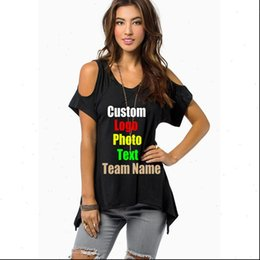 les femmes occidentales chemises l Promotion Oversized 4XL 5XL European Western Womens T Shirts Off Shoulder V Neck Custom Logo Photo Text Printed