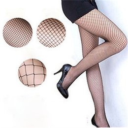 Bas nylon en nylon en Ligne-Wholesale-Lady Femmes Sexy Collants Sexy Mesh FishNon Collants De Nylon Longue Stocking Jacquard Step Foot Seam Collants Haute sur les chaussettes du genou