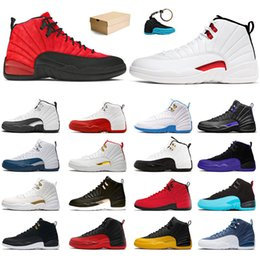 Juegos profesionales online-Nike Air Jordan Retro 12 Jordans 12s Jumpman AJ Con caja Original Baloncesto Men Trainers Shoes Sports Sneakes Blue University Ice Cream Concord High Quality XIII Professional