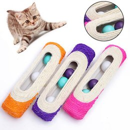 2021 planches sonores Rouleaux Scratching Post Amuse Chat Board Drôle Interactive Sound Ball Sisal Teaser Teaser Jouets Fournitures