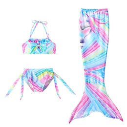 Maillots de bain piscine en Ligne-Girls Cosplay Maillot de bain 3pcs Mermaid Tail Maillots de bain pour enfants Mermaid Piscine de bain Piscine de bain Filles Sirène Princess Party Costumes 726 S2