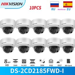 hikvision ds Скидка Hikvision IP-камера 8MP 4K IR POE DOME DS-2CD2185FWD-I с SD-картой слот CCTV Security Outdoor IP67 Onvif Hik-Connect 10 шт. / Лот Камеры