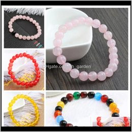 Rubis rose naturel en Ligne-Strands perlés 8mm Cristal Naturel Quartz Quartz Stretch Reiki Rose Agate Ruby Couleur Jade Jaune Noir Black Givelé Bracelet CDXU4 XQXSJ