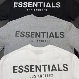 t-shirt los angeles  Sconti Essentials Los Angeles Limited Reflective Couple Coppia Top T-Shirt Fog High Street Street Sleeve Sleeve Tee WGTX37010