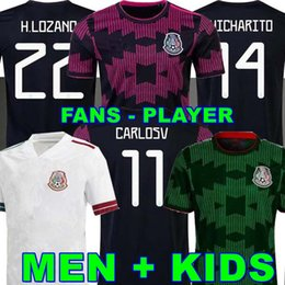 Kit-lüfter online-Fans Spielerversion Mexiko Fußball-Trikots Copa America Camisetas 20 21 Chicharito Lozano dos Santos Moreno Alvarez Guardado 2021 Football Hemden Männer + Kinder Sets Kit